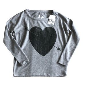 NWT CHASER Grey Sweater Arrow Through Heart XS